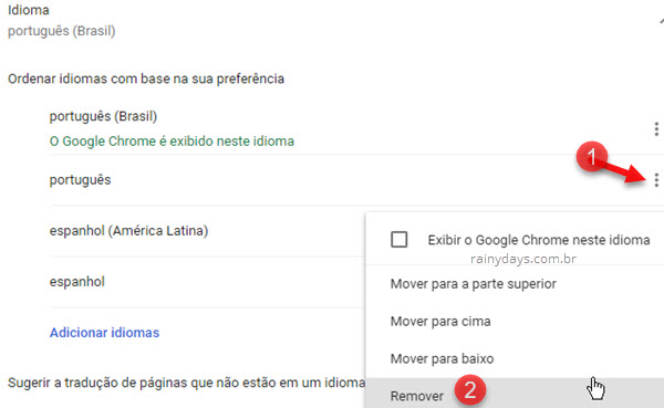 Remover idioma do Chrome