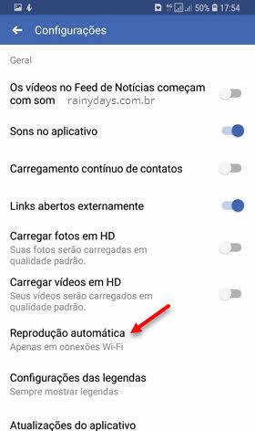 Reprodução automática de vídeos Facebook app