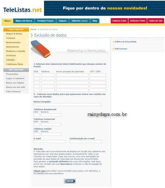 Formulário de exclusão de dados, como tirar nome do TeleListas