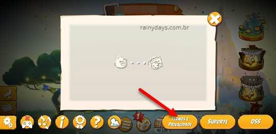 Termos e privacidade Angry Birds Rovio jogos