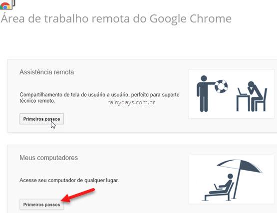 Área de trabalho remota Google Meus PCs Primeiros Passos
