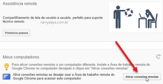 Ativar conexões remotas Google Chrome