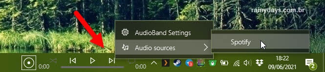 Ativar Spotify como source no AudioBand