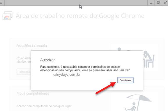 autorizar acesso estendido ao computador Chrome Remote