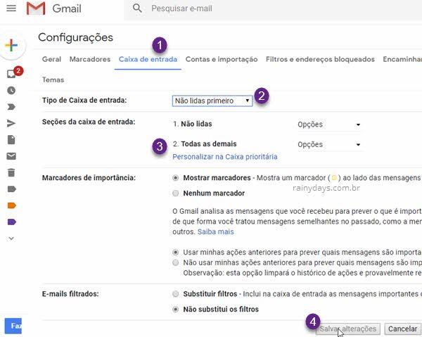 Caixa de entrada configurações Gmail