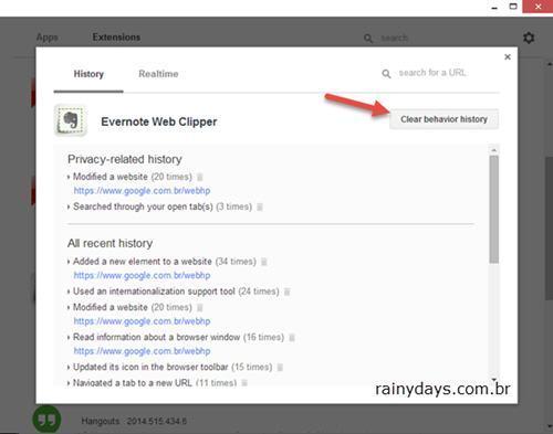 Checar Atividade das Extensões e Apps do Chrome