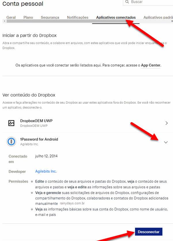 Como desvincular aplicativos conectados na conta do Dropbox