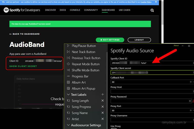 Copiar ID do cliente e código secreto do Spotify para AudioBand