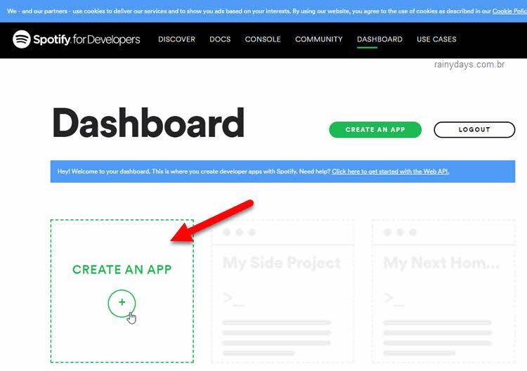 Criar aplicativo Spotify desenvolvedor dashboard