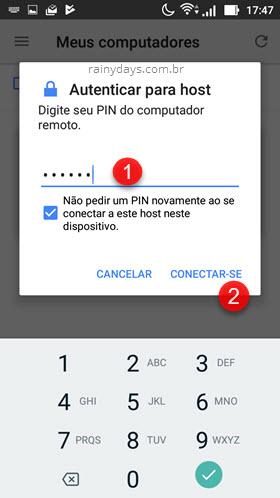 digitar PIN do computador remoto no Android Chrome Remote