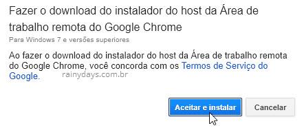 instalador Área de Trabalho Remota Google Chrome