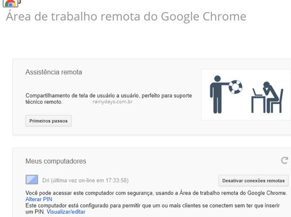 Meus computadores Área de Trabalho Remota Google Chrome