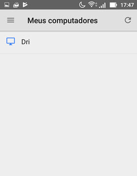 Meus computadores Chrome Remote Desktop Android