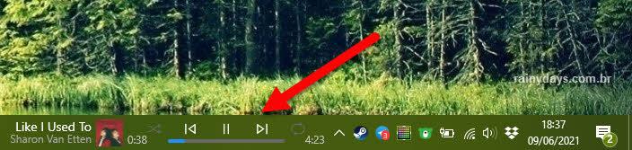 Mini player do Spotidy na barra de tarefas do Windows AudioBand