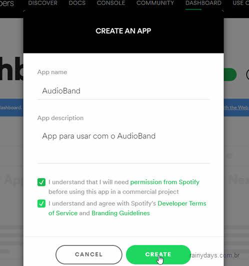 nome e descrição aplicativo spotify
