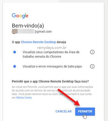 Permitir que app Chrome Remote Desktop visualize