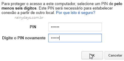 PIN de acesso remoto no computador Chrome Remote Desktop