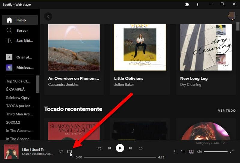 Spotify web em modo aplicativo do Chrome, PiP, mini player
