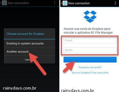 Adicionar várias contas do Dropbox no Android 4