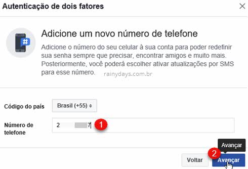 Adicione número de telefone dois fatores Facebook
