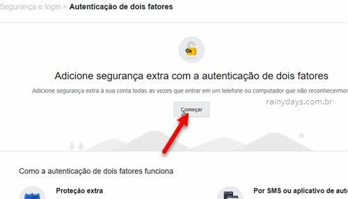 Adicione segurança extra dois fatores Facebook começar