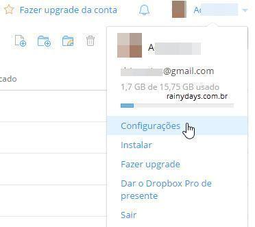 Como excluir conta do Dropbox