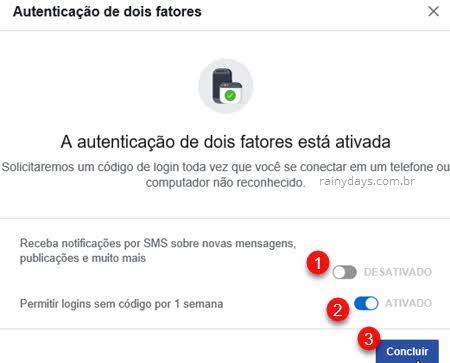 Autenticação de dois fatores ativada Facebook Concluir