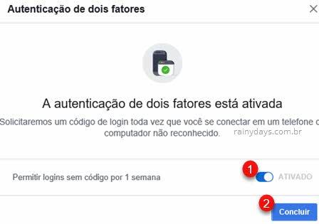 Autenticação de dois fatores com app autenticador ativada Facebook