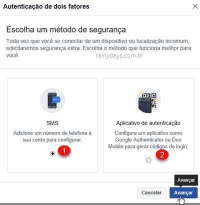 Autenticação de dois fatores Facebook método SMS ou app autenticador