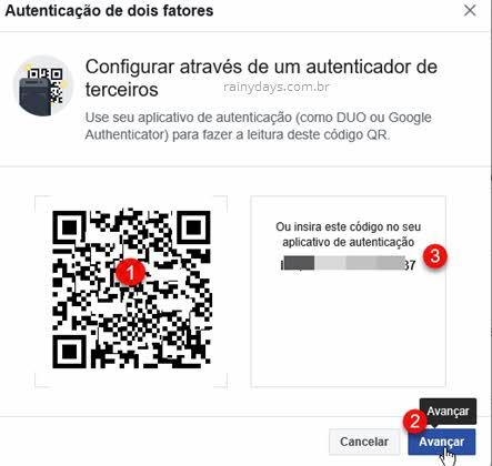 Configurar através de autenticador de terceiros Facebook