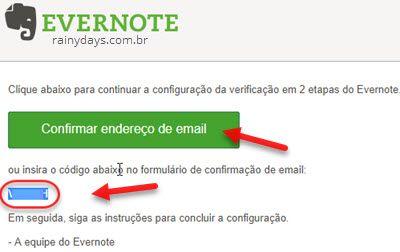 Confirmar endereço de email Evernote