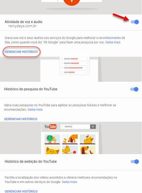 Controle de atividades Google histórico online pausar ou excluir