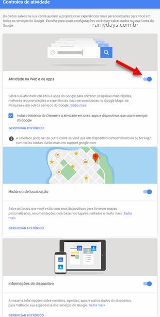 Gerenciar Histórico da conta Google
