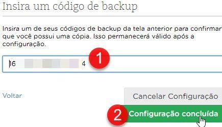 Inserir código de backup Evernote 2 etapas