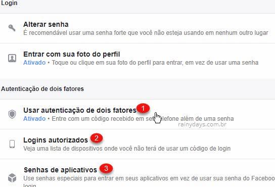 Usar autenticação de dois fatores Facebook Login autorizado Senhas apps