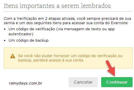 Ativar verificação em duas etapas no Evernote