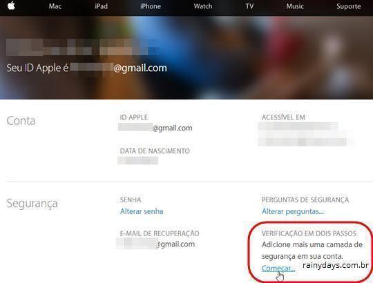 Verificação em Duas Etapas no iCloud Apple