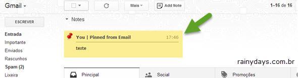 Adicionar Notas em Email do Gmail