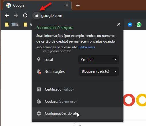 Barra cadeado configurações do site Google Chrome