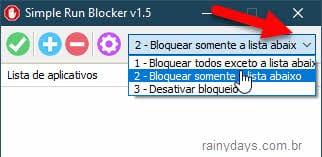 Bloquear somente a lista abaixo programa Simple Run Blocker