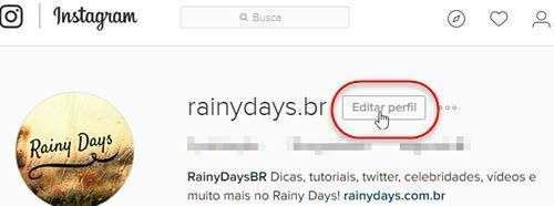 botão Editar perfil Instagram