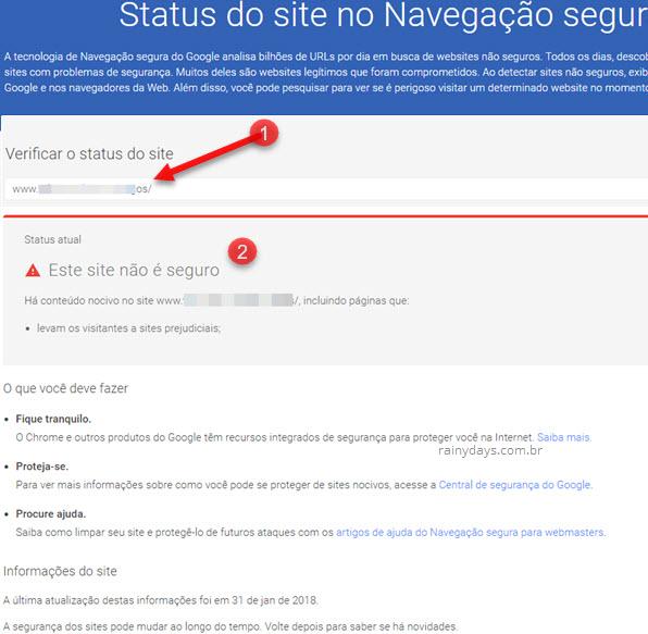 Checar sites na Navegação Segura Google