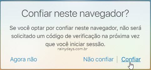 Confiar no navegador iCloud
