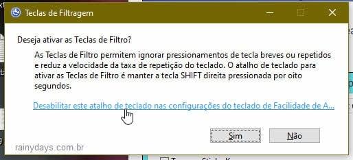 desativar aviso de teclas de filtro Windows