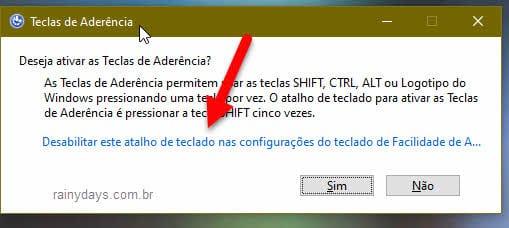 desativar teclas de aderência no Windows