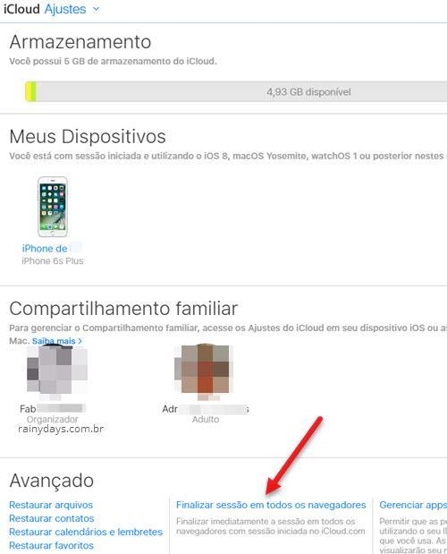 Desconectar remotamente do iCloud