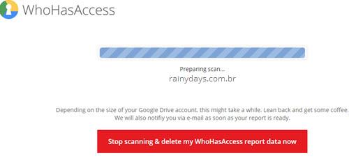 Escanear Google Drive para verificar arquivos compartilhados