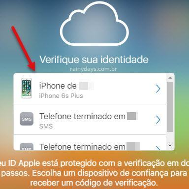 Escolher como receber código de verificação iCloud