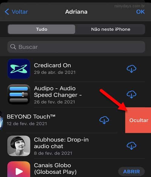Esconder aplicativos comprados da lista de compras App Store