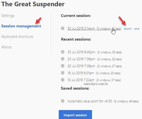 Gerenciar sessões abertas do Chrome Great Suspender